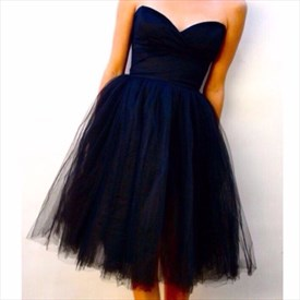 Navy Blue Short Strapless Sweetheart Tulle Party Dress