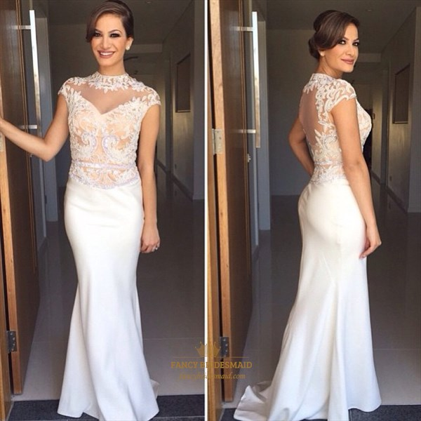 Ivory High Neck Sheer Lace Embellished Top Cap Sleeve Long Prom Dress
