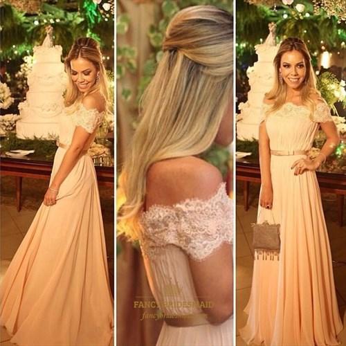 Blush Pink Off The Shoulder Ruched Embellished A Line Bridesmaid Dress