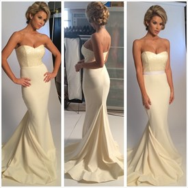 Ivory Strapless Sweetheart embellished Top Mermaid Long Prom Dress