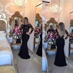 Black Long Sleeve Lace Bodice Open Back Long Mermaid Prom Dress