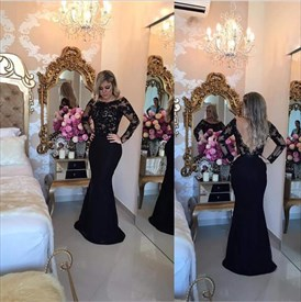 Black Long Sleeve Lace Bodice Open Back Long Mermaid Prom Dress