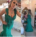 Teal Beaded Bodice Lace Embellished Mermaid Long Formal Prom Dress