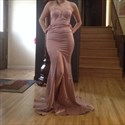 Pink Strapless Sweetheart Full Length Front Split Bridesmaid Dress