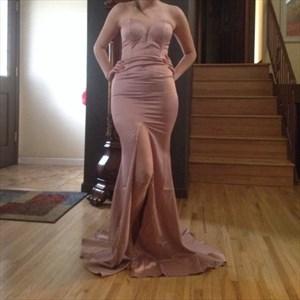 Pink Strapless Sweetheart Full Length Front Split Bridesmaid Dress