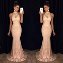 Blush Pink High Neck Sheer Lace Mermaid Full Length Formal Dress