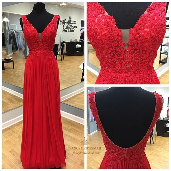 Red V Neck Lace Applique Bodice Backless Long Bridesmaid Dress