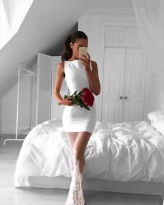 White Sleeveless Short Sheath Party Dress With Sheer Overlay