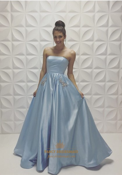 Light Blue Strapless Beaded Ball Gown Full Length Prom Dress