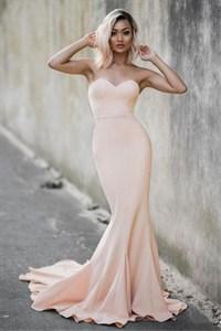Peach Strapless Sweetheart Full Length Mermaid Formal Dress