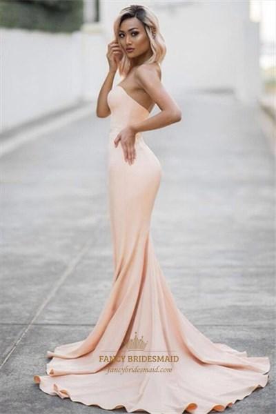 Peach Strapless Sweetheart Full Length Mermaid Formal Dress