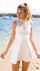 White Sheer Lace Applique High Neck Knee Length Cocktail Dress