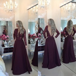 Burgundy Deep V Neck Sequin Bodice Long Sleeve Backless Formal Dress