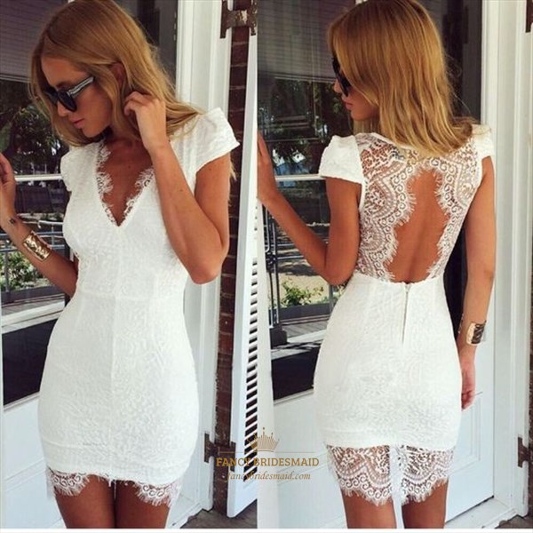 White Short Lace Applique Open Back Cap Sleeve Homecoming Dress