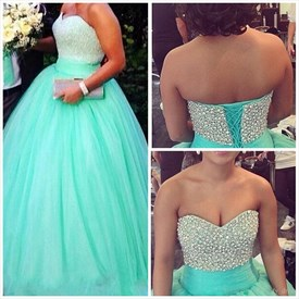 Turquoise Beaded Bodice Strapless Ball Gown Evening Dress