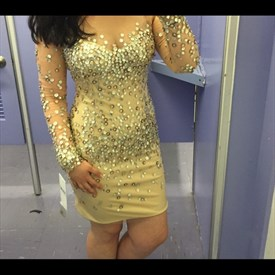 Yellow Sheer Sequin Embellished Long Sleeve Short Sheath Prom Dress