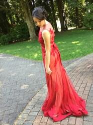 Red Sheer Lace Applique Sleeveless Floor Length Evening Dress