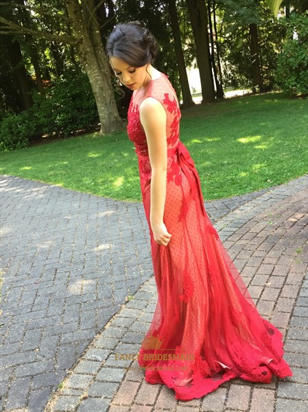 Red Sheer Lace Applique Sleeveless Floor Length Evening Dress