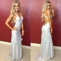 Silver Open Back V Neck Sequin Sheath Full Length Evening Dress