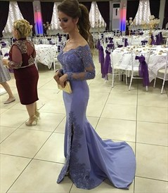 Lilac Off The Shoulder Embellished Long Sleeve Side Split Prom Dress