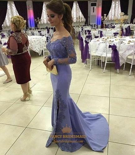 Lilac Off The Shoulder Embellished Long Sleeve Side Split Prom Dress