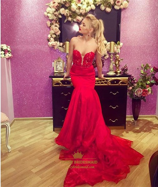 Red Strapless Lace Applique Mermaid Evening Dress With Long Train
