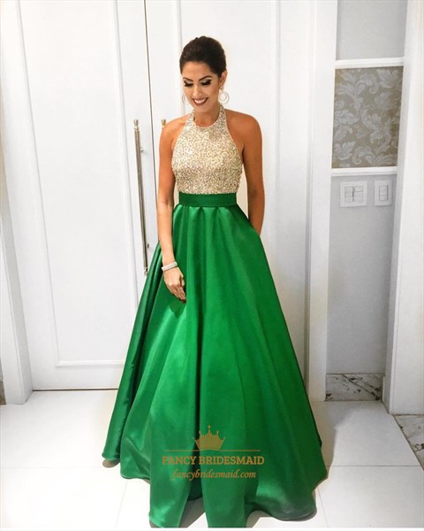 Emerald Green Beaded Bodice Halter Floor Length Ball Gown Formal Dress