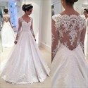 White V Neck Lace Applique Sheer Long Sleeve Wedding Dress