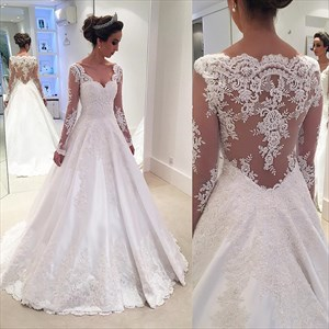 White V Neck Lace Applique Sheer Long Sleeve Wedding Dress