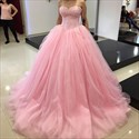 Pink Strapless Lace Embellished Bodice Tulle Ball Gown Evening Dress