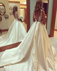 Ivory V Neck Sheer Lace Applique Ball Gown Wedding Dress With Train