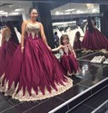 Burgundy Strapless Lace Applique Ball Gown Long Evening Dress