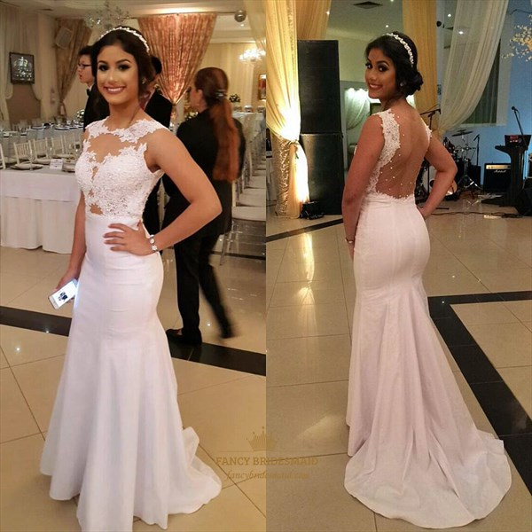 White Sheer Back Lace Applique Mermaid Floor Length Prom Dress