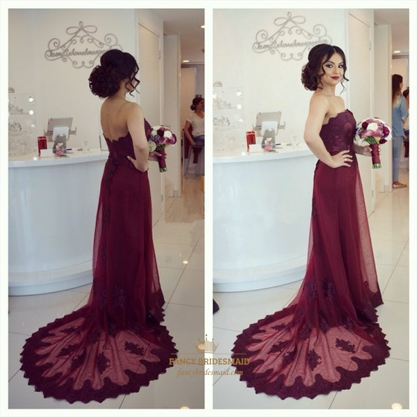 Burgundy Off The Shoulder Lace Applqiue Prom Dress With Sheer Overlay