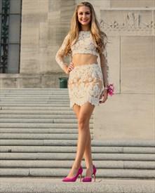 Peach Two Piece Lace Applique Long Sleeve Sheath Short Cocktail Dress