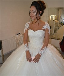 Ivory Sheer Lace Applique Ball Gown Wedding Dress With Long Sleeve