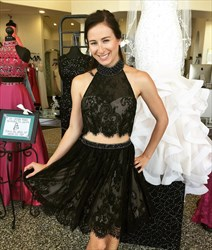 Black Two Piece High Neck Sheer Lace Beaded Short Party Dress