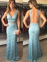 Light Blue V Neck Sleeveless Backless Lace Long Formal Dress
