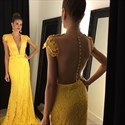 Yellow Cap Sleeve Deep V Neck Sheer Back Long Lace Formal Dress