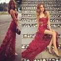 Burgundy Strapless Illusion Lace Corset Prom Dress With Sheer Overlay