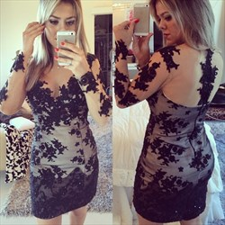 Black Long Sleeve Illusion Lace Appliqué Short Sheath Cocktail Dress