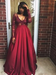 Burgundy V Neck Sheer Lace Applique Long Sleeve Ball Gown Formal Dress