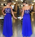 Royal Blue Lace Applique Top Halter High Neck Long Chiffon Prom Dress