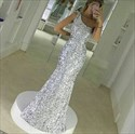 Silver One Shoulder Sequin Mermaid Floor Length Bridesmaid Dress
