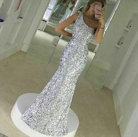 Silver One Shoulder Sequin Mermaid Floor Length Bridesmaid Dress