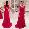 Red V-Neck Sleeveless Open Back Long Chiffon Prom Dress
