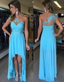 Aqua Blue Lace Applique Top One Shoulder High Low Bridesmaid Dress