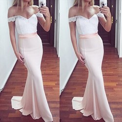 Elegant Blush Pink Off The Shoulder Lace Top Mermaid Long Prom Dress