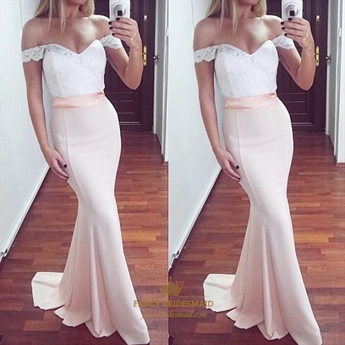 Elegant Blush Pink Off The Shoulder Lace Top Mermaid Long Prom Dress