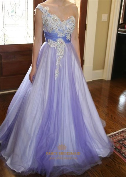 Lilac Lace Applique One Shoulder Tulle Ball Gown Formal Dress